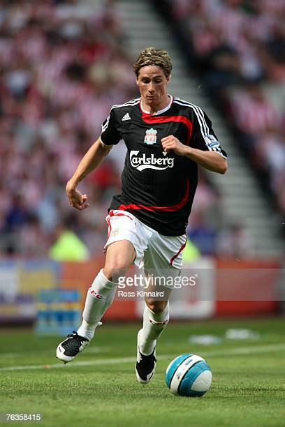 Fernando Torres of Liverpool during the Barclays Premiership match between Sunderland and Liverpool at The Stadium of Light on August 25 2007 in...