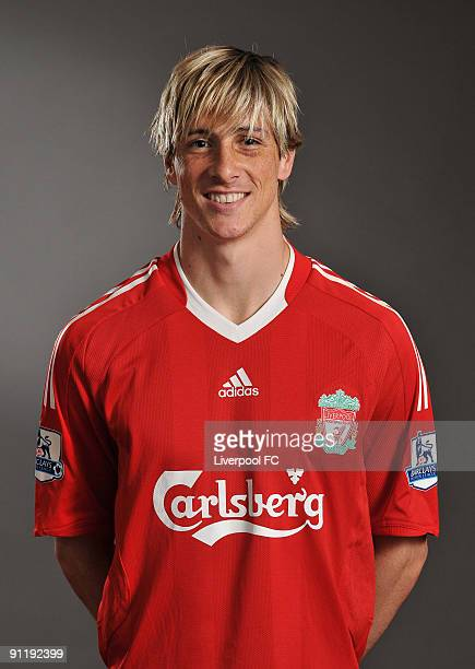 Fernando Torres of Liverpool FC poses during a Liverpool FC 2009/2010 season photocall in Liverpool England