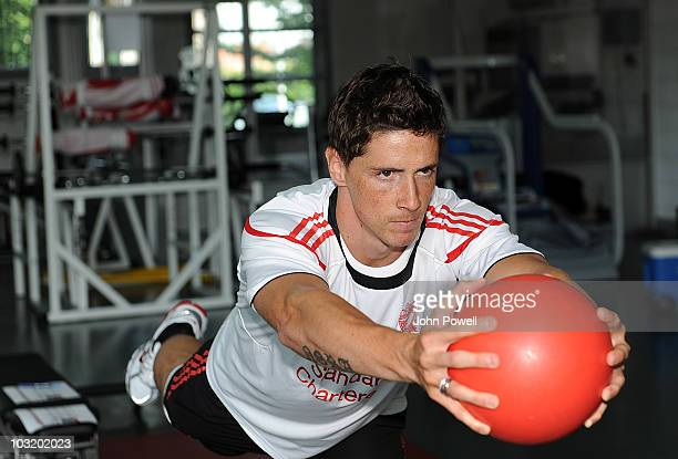 Fernando Torres of Liverpool FC returns to training under the guidance of the club's Sports Scientist Jordan Milsom at Melwood training ground on...