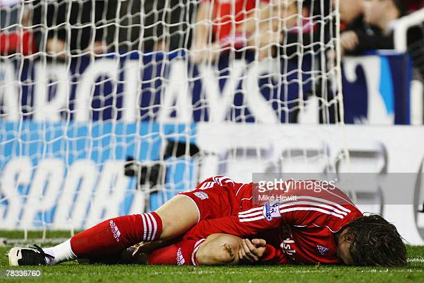 Fernando Torres of Liverpool goes down after a challenge in the Reading penalty box during the Barclays Premier League match between Reading and...