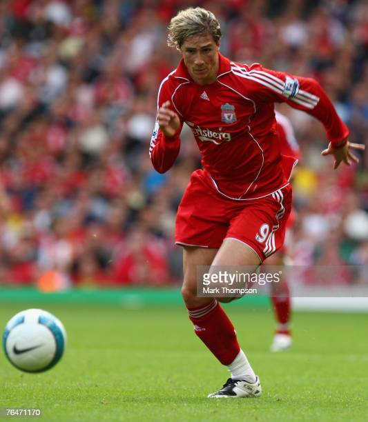Fernando Torres of Liverpool in action during the Barclays Premier League match between Liverpool and Derby County at Anfield on September 01 2007 in...