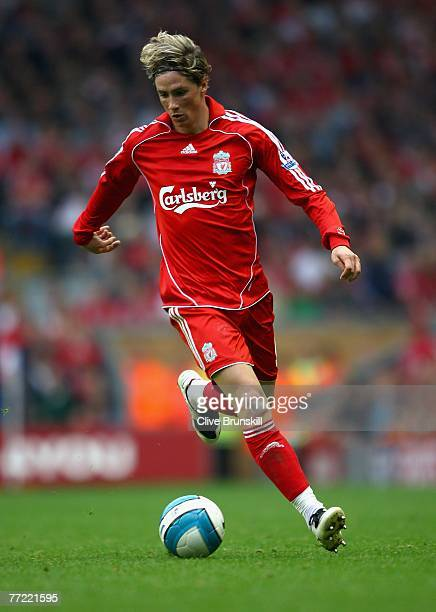 Fernando Torres of Liverpool in action during the Barclays Premier League match between Liverpool and Tottenham Hotspur at Anfield on October 7 2007...