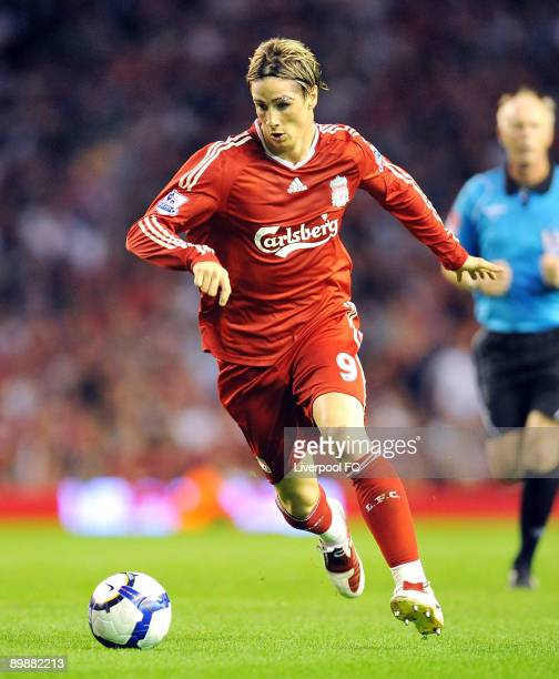 Fernando Torres of Liverpool in action during the Barclays Premier League match between Liverpool and Stoke City at at Anfield on August 19 2009 in...