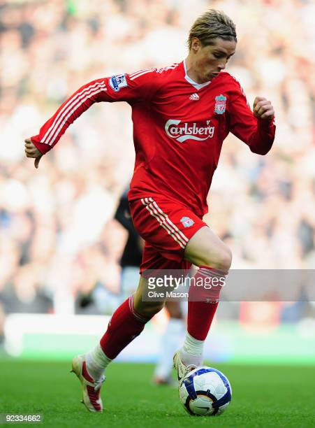 Fernando Torres of Liverpool in action during the Barclays Premier League match between Liverpool and Manchester United at Anfield on October 25 2009...