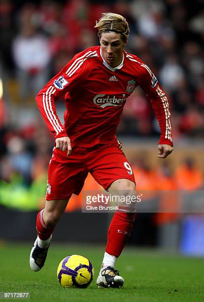 Fernando Torres of Liverpool in action during the Barclays Premier League match between Liverpool and Blackburn Rovers at Anfield on February 28 2010...