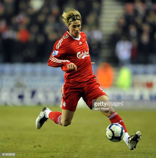Fernando Torres of Liverpool in action during the Barclays Premier League match between Wigan Athletic and Liverpool at the DW Stadium on March 8,...