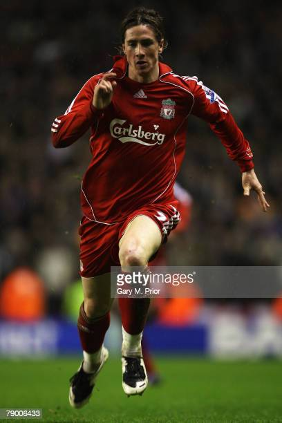 Fernando Torres of Liverpool in action during the FA Cup 3rd round replay sponsored by EON match between Liverpool and Luton Town at Anfield on...