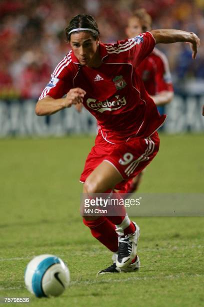 Fernando Torres of Liverpool in action during the preseason Barclays Asia Trophy final match between Liverpool FC and Portsmouth FC at Hong Kong...