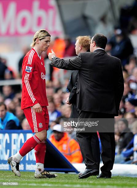 Fernando Torres of Liverpool is substituted by manager Rafael Benitez during the Barclays Premier League match between Birmingham City and Liverpool...