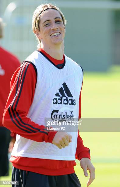 Fernando Torres of Liverpool looks on during a Liverpool FC training session at Melwood Training Ground on August 22 2009 in Liverpool England