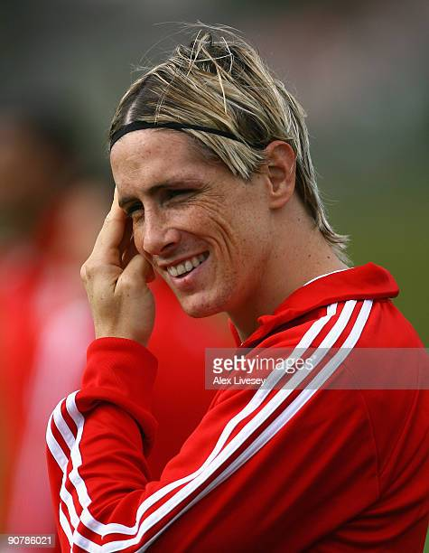Fernando Torres of Liverpool looks on during a Liverpool training session at Melwood Training Complex on September 15 2009 in Liverpool England