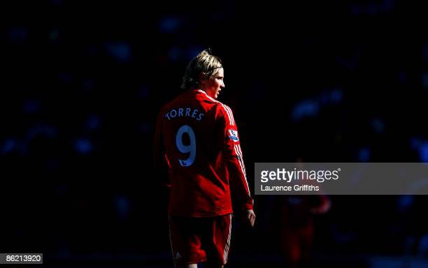 Fernando Torres of Liverpool looks on during the Barclays Premier League match between Hull City and Liverpool at the KC Stadium on April 25 2009 in...