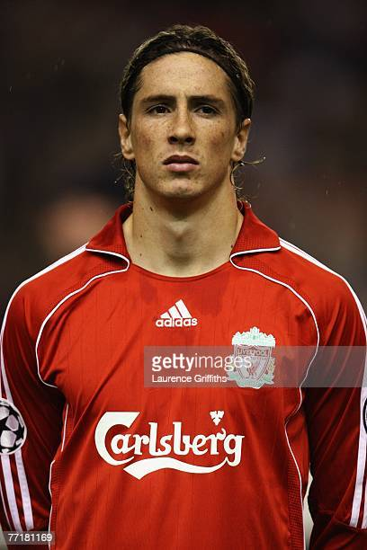 Fernando Torres of Liverpool looks on prior to during the UEFA Champions League Group A match between Liverpool v Marseille at Anfield on October 3...
