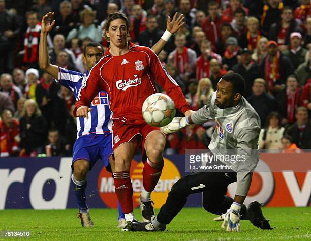 Fernando Torres of Liverpool scores his team's second goal during the UEFA Champions League Group A match between Liverpool and FC Porto at Anfield...