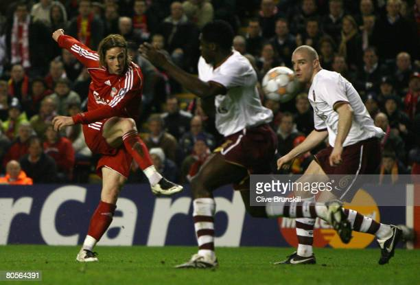 Fernando Torres of Liverpool scores his team's second goal during the UEFA Champions League Quarter Final second leg match between Liverpool and...