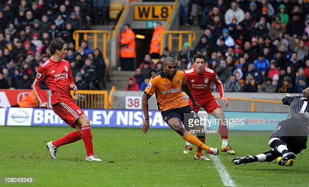 Fernando Torres of Liverpool scores the opening goal during a Barclays Premier League match between Wolverhampton Wanderers and Liverpool at Molineux...