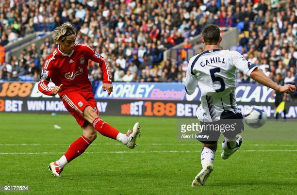 Fernando Torres of Liverpool scores the second goal for Liverpool during the Barclays Premier League match between Bolton Wanderers and Liverpool at...