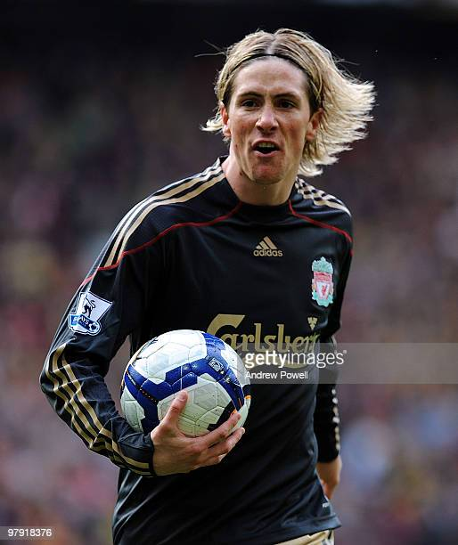 Fernando Torres of Liverpool screams at the referee during the Barclays Premier League match between Manchester United and Liverpool at Old Trafford...
