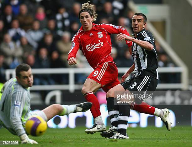 Fernando Torres of Liverpool watches as his shot beats Shay Given and Jose Enrique of Newcastle United but goes wide of the goal during the Barclays...