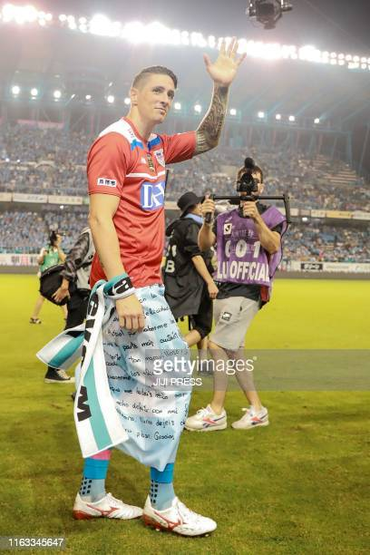 Fernando Torres of Sagan Tosu waves to supporters after his last football game in the JLeague match against Vissel Kobe in Tosu Saga prefecture on...