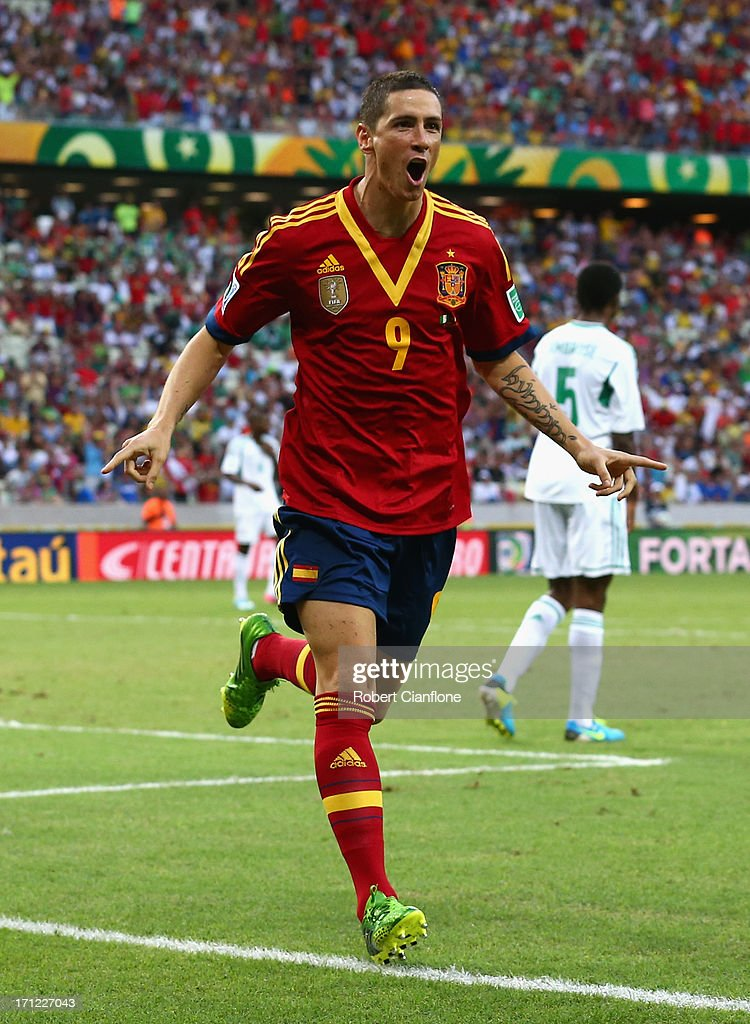 Fernando Torres of Spain celebrates as he scores their second goal during the FIFA Confederations Cup Brazil 2013 Group B match between Nigeria and Spain at Castelao on June 23, 2013 in Fortaleza, Brazil.