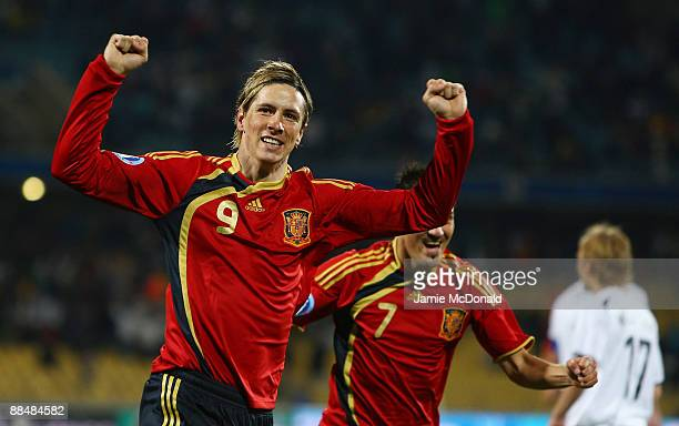 Fernando Torres of Spain celebrates his first goal during the FIFA Confederations Cup match between New Zealand and Spain at Royal Bafokeng Stadium...