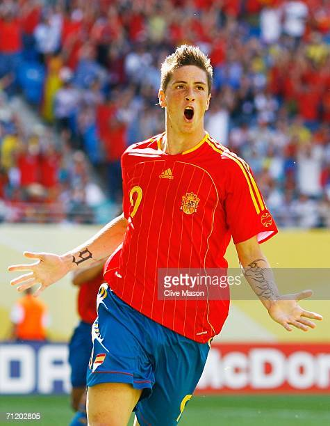 Fernando Torres of Spain celebrates scoring his team's fourth goal during the FIFA World Cup Germany 2006 Group H match between Spain and Ukraine...