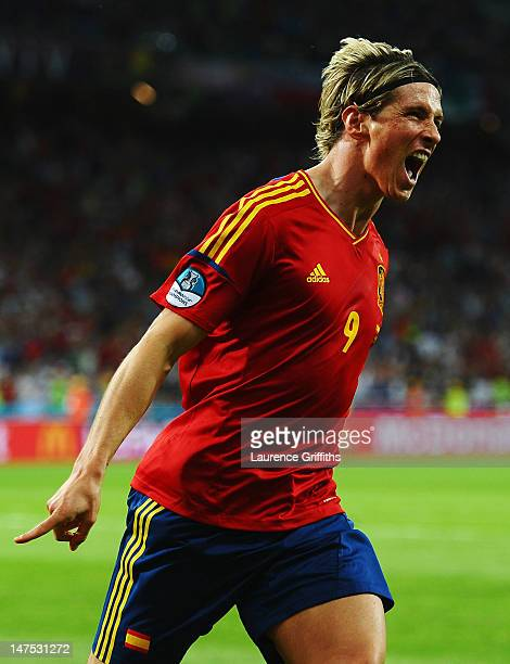 Fernando Torres of Spain celebrates scoring his team's third goal during the UEFA EURO 2012 final match between Spain and Italy at the Olympic...