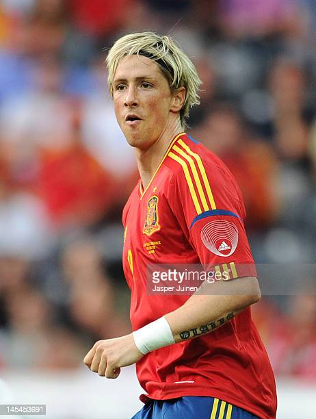Fernando Torres of Spain celebrates scoring the opening goal during the international friendly match between Spain and Korea Republic on May 30 2012...