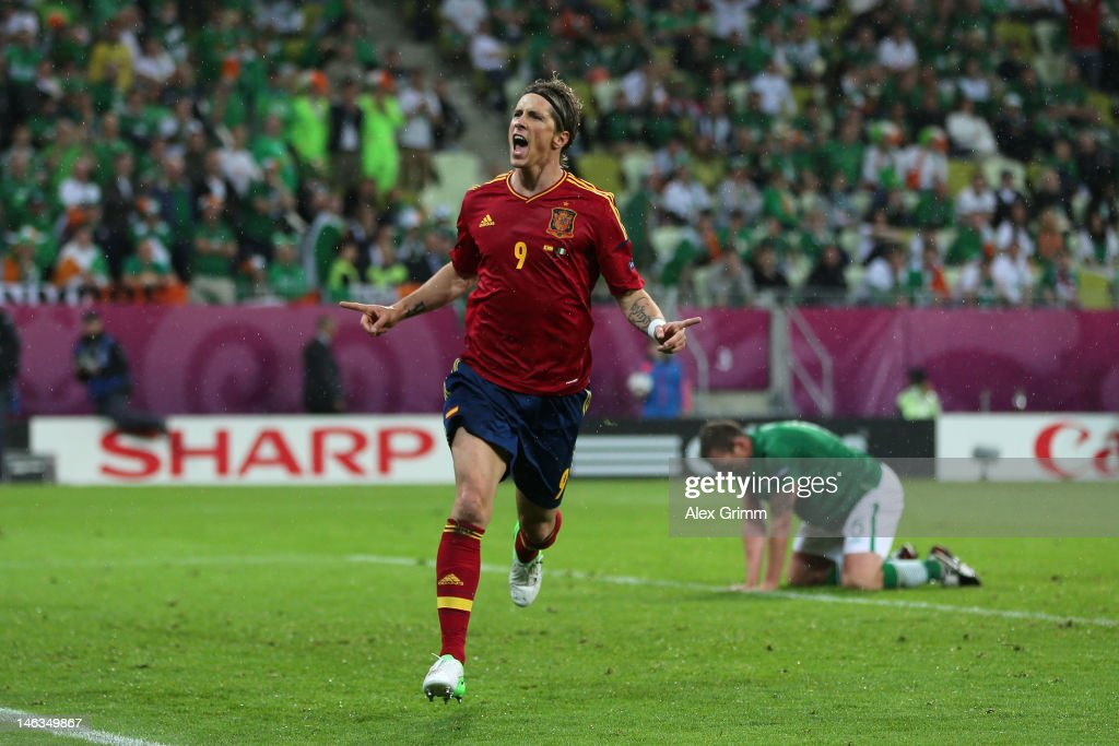 Fernando Torres of Spain celebrates scoring their third goal during the UEFA EURO 2012 group C match between Spain and Ireland at The Municipal Stadium on June 14, 2012 in Gdansk, Poland.