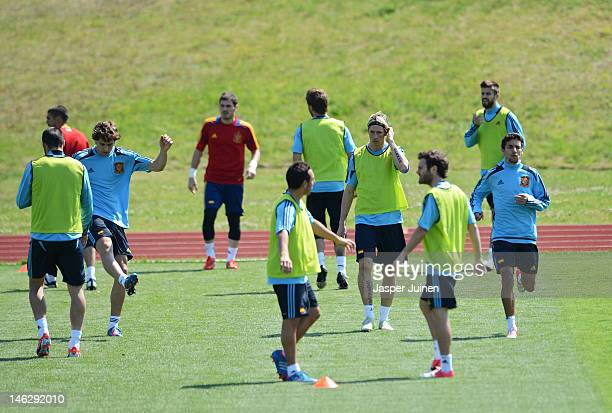Fernando Torres of Spain exercises with his teammates during a UEFA EURO 2012 training session on June 13 2012 in Gniewino Poland