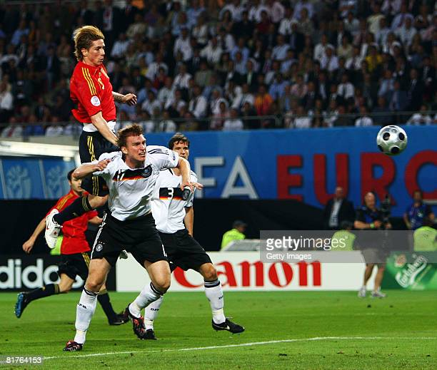 Fernando Torres of Spain heads the ball during the UEFA EURO 2008 Final match between Germany and Spain at Ernst Happel Stadion on June 29, 2008 in...