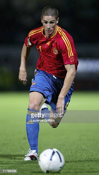 Fernando Torres of Spain in action during the Euro 2008 Qualifying Group F Match between Northern Ireland and Spain at Windsor Park on September 6...