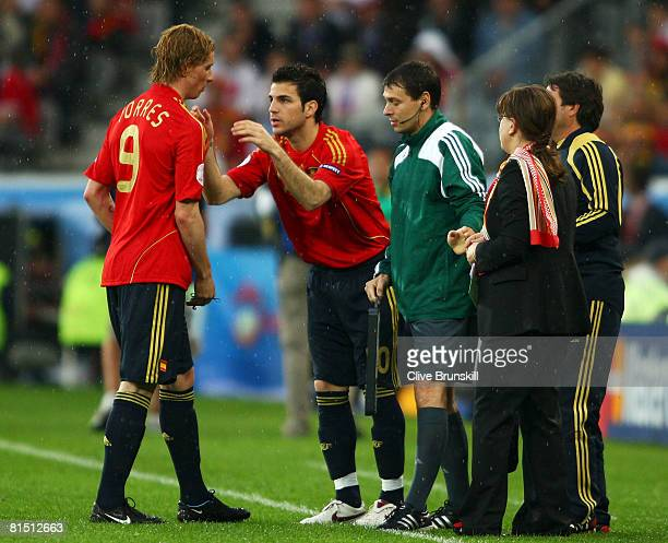 Fernando Torres of Spain is substituted for Cesc Fabregas of Spain during the UEFA EURO 2008 Group D match between Spain and Russia at Stadion Tivoli...