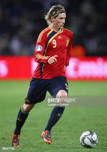 Fernando Torres of Spain on the ball during the FIFA Confederations Cup match between Spain and Iraq at Free State Stadium on June 17 2009 in...