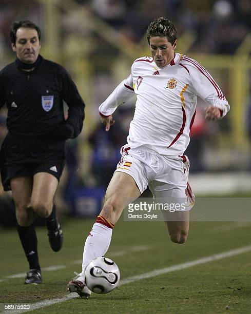 Fernando Torres of Spain plays the ball during an International friendly game between Spain and Ivory Coast at the Nuevo Sorilla stadium on March 1...