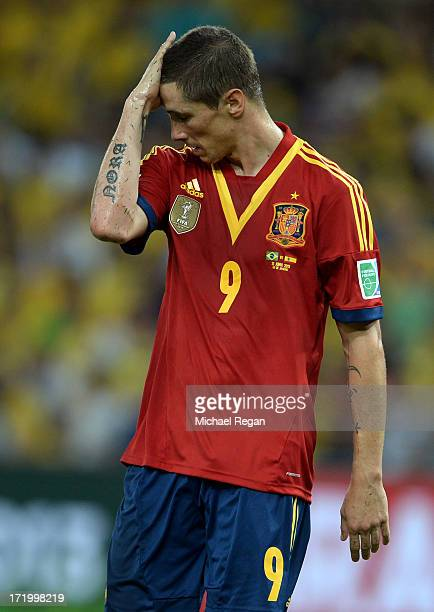 Fernando Torres of Spain reacts during the FIFA Confederations Cup Brazil 2013 Final match between Brazil and Spain at Maracana on June 30 2013 in...
