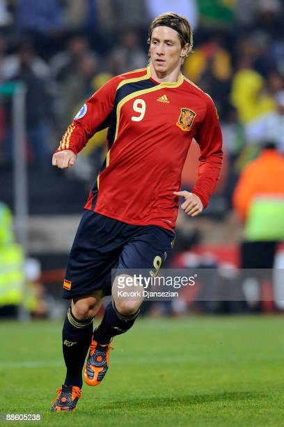 Fernando Torres of Spain runs during the FIFA Confederations Cup match between Spain and South Africa at the Free State stadium on June 20 2009 in...