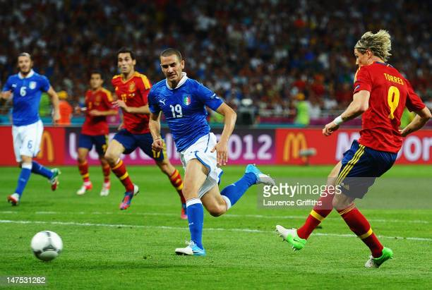 Fernando Torres of Spain scores his team's third goal during the UEFA EURO 2012 final match between Spain and Italy at the Olympic Stadium on July 1,...