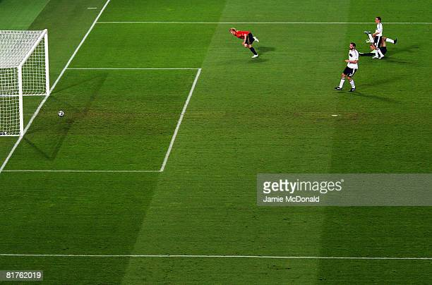 Fernando Torres of Spain scores the opening goal during the UEFA EURO 2008 Final match between Germany and Spain at Ernst Happel Stadion on June 29,...