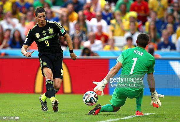Fernando Torres of Spain scores the team's second goal during the 2014 FIFA World Cup Brazil Group B match between Australia and Spain at Arena da...