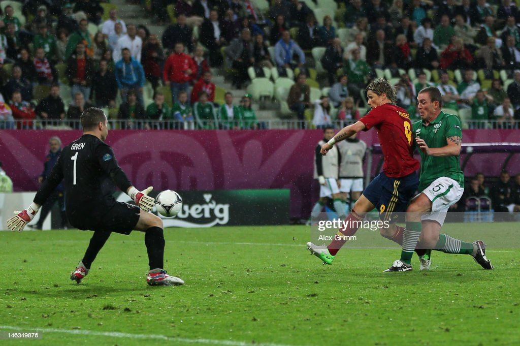 Fernando Torres of Spain scores their third goal during the UEFA EURO 2012 group C match between Spain and Ireland at The Municipal Stadium on June 14, 2012 in Gdansk, Poland.