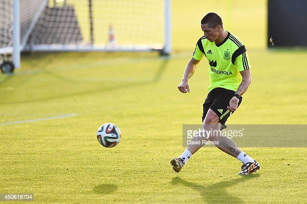 Fernando Torres of Spain shoots towards goal during a Spain training session at Centro de Entrenamiento do Caju on June 14 2014 in Curitiba Brazil