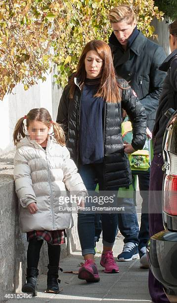 Fernando Torres Olalla Dominguez and her daughter Nora Torres are seen on January 22 2015 in Madrid Spain