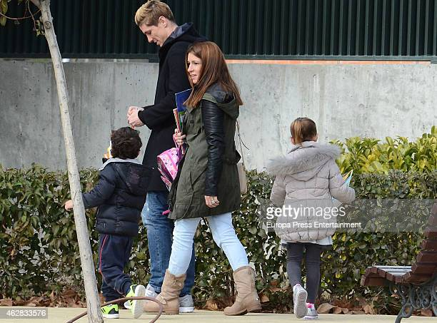 Fernando Torres Olalla Dominguez and their kids Leo Torres and Nora Torres are seen on February 5 2015 in Madrid Spain