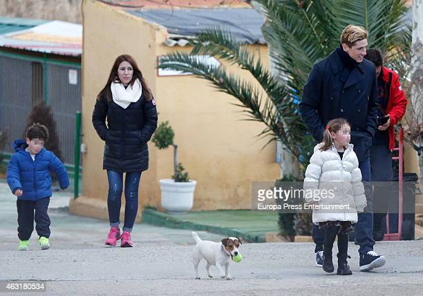 Fernando Torres Olalla Dominguez and their kids Leo Torres and Nora Torres are seen on January 22 2015 in Madrid Spain