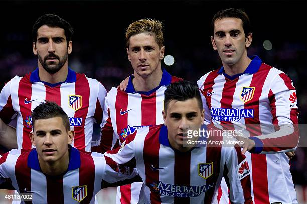 Fernando Torres poses for the line up picture with his teammates Raul Garcia Jesus Gamez Diego Godin and Jose Maria Gimenez prior to start the Copa...