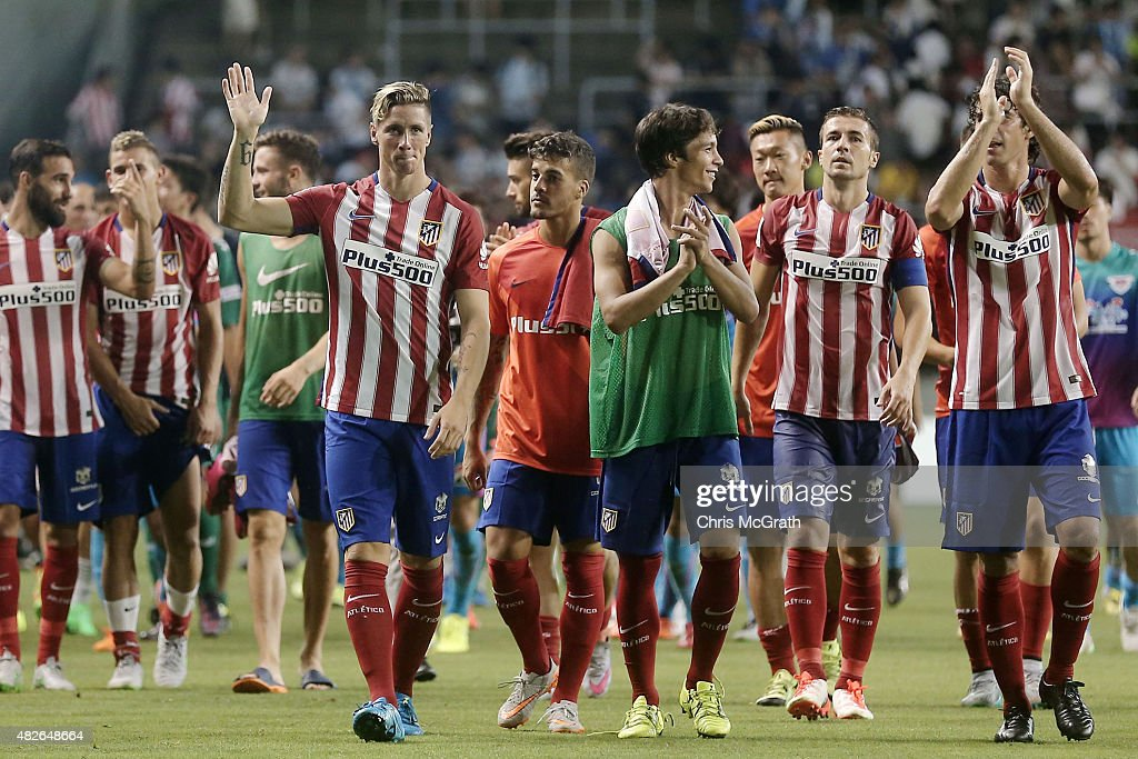 Fernando Torres #9 waves to the crowd after defeating Sagan Tosu F.C. during the friendly match between Atletico Madrid and Sagan Tosu F.C. at Tosu Stadium on August 1, 2015 in Tosu, Japan.