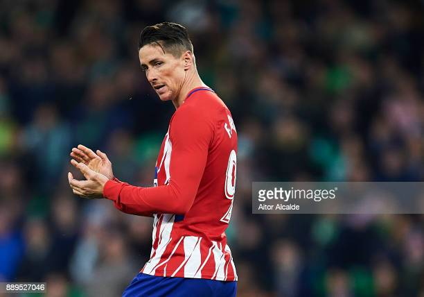 Fernando Torresof Club Atletico de Madrid reacts during the La Liga match between Real Betis and Atletico Madrid at Estadio Benito Villamarin on...
