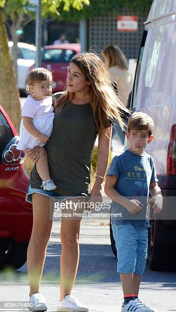 Fernando Torres's wife Olalla Dominguez and her daugther Elsa Torres and son Leo Torres are seen on September 20 2016 in Madrid Spain